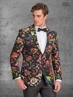 Tallia Orange Collection Men's Metallic Multicolor Floral Blazer