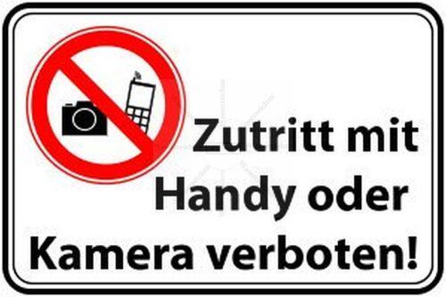 AUFKLEBER-Folie UV/&Waschanlagenfest Kein zutritt Handy Kamera Verbot 181 15cm