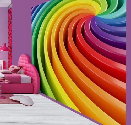 Cool multi colour 3D Swirl Optical Illusion  wallpaper wall mural 30118897