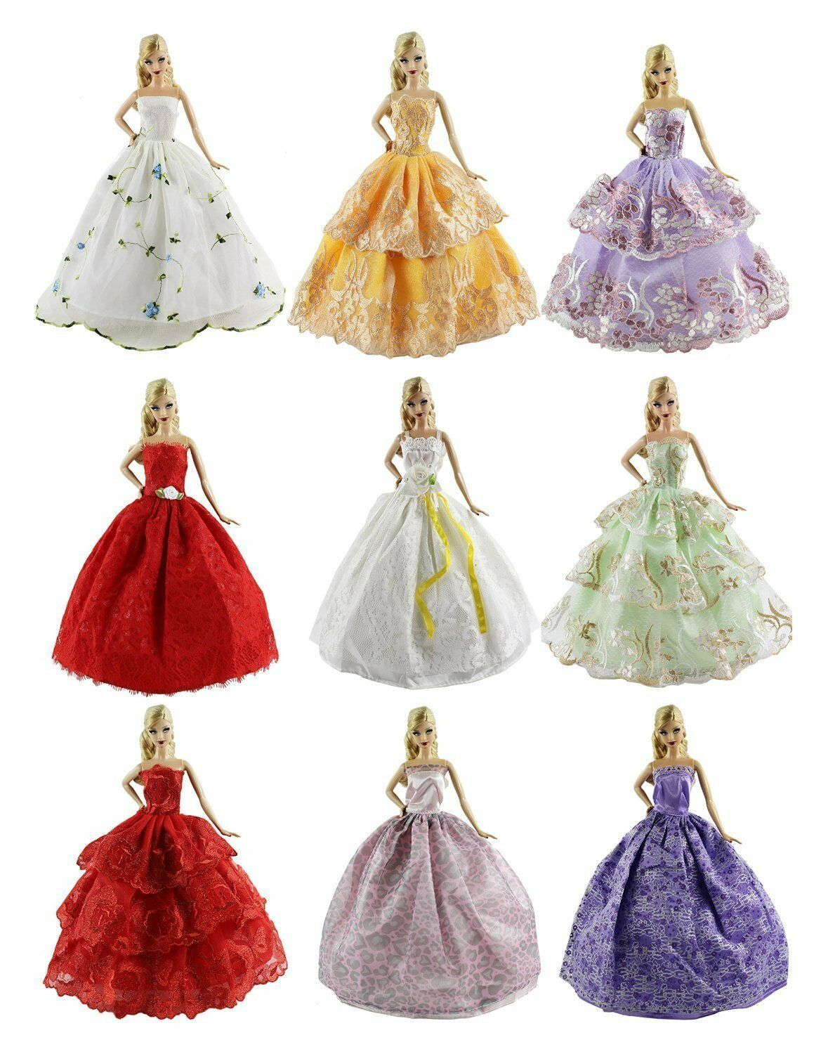 6Pcs Handmade Party Wedding Dresses Fashion Clothes Gown Set For Barbie Dolls US
