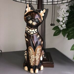 Artisan-Wood-Carved-Hand-Painted-Cat-Figurine-11-5-034-Tall-Brown-Flat-Back-EUC