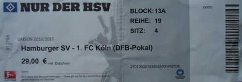 TICKET DFB Pokal 2016//17 Hamburger SV FC Köln