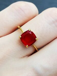 1.75 ct Natural Cushion Red Garnet Women's Engagement Ring 14k Yellow Gold Over