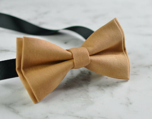 Boys Kids Teenage Cotton Lion Camel Pale Brown Bow Tie Bowtie  7-14 Years Old