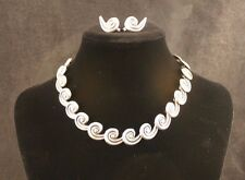 Los Castillo Spiral Necklace & Earrings Set 1940's Sterling Silver