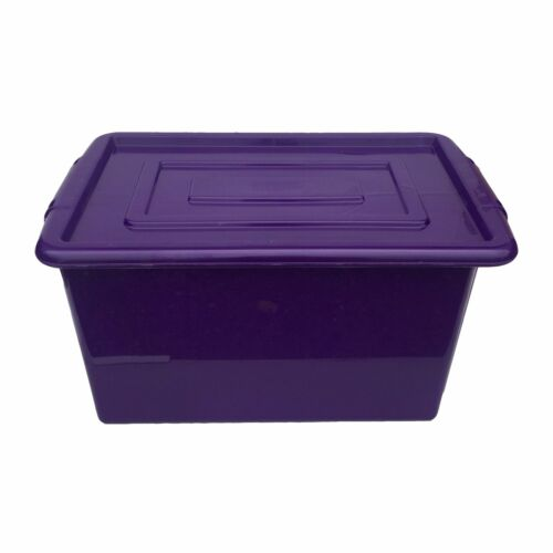 Purple en plastique grand 52L litre du stockage boîte conteneur de baignoire avec couvercle coffre à jouets enfants