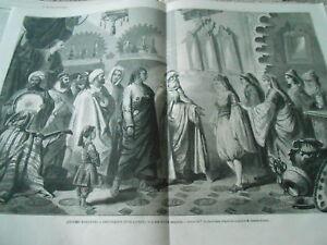 Grande Gravure 1863 - Costumes Marocains Presentation Jeune Fille Et Son Fiancé
