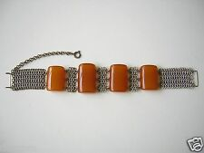 Egg Yolk Bernstein Armband mit Metallringen 28,6 g Amber Mittelalter Stil