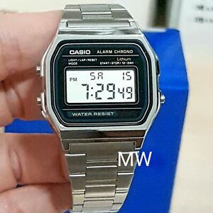 size 40 02a58 e8cb1 Details about Casio Vintage Digital Silver Stainless Steel Watch A158WA  A158WA-1 A158WA-1D New
