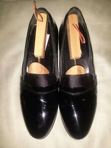 Mezlan Mirage Black Patent Leather Formal Tuxedo Slip On Shoes Loafers 11.5 B.