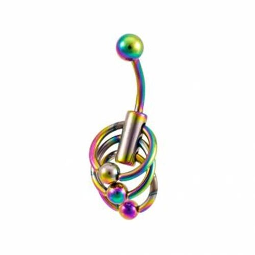 316L Surgical Steel Anodized Titanium Rainbow Waterfall Design Navel Belly Ring