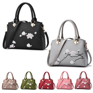 Image is loading Womens-Ladies-Embroidery-Flower-Designer-Leather-Handbag- Tote- 02f854585