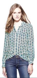 Tory Burch Dress Shirt Silk Scarab Top 4 Beetle S RUNWAY Vanilla Cream Kerry