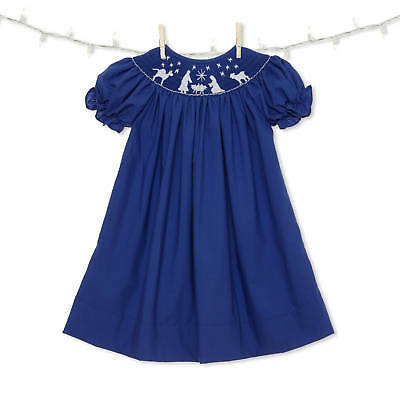 boutique * Smocked Christmas Bishop Dress with white crosses NEW