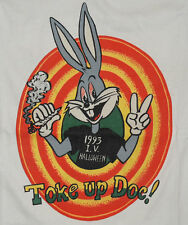 Vtg 90s BUGS BUNNY SMOKING WEED T Shirt XL Looney Tunes Characters Getting High