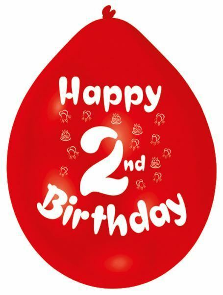 Amscan 228 Cm Happy 2nd Birthday 10 Latex Balloons For Sale Online