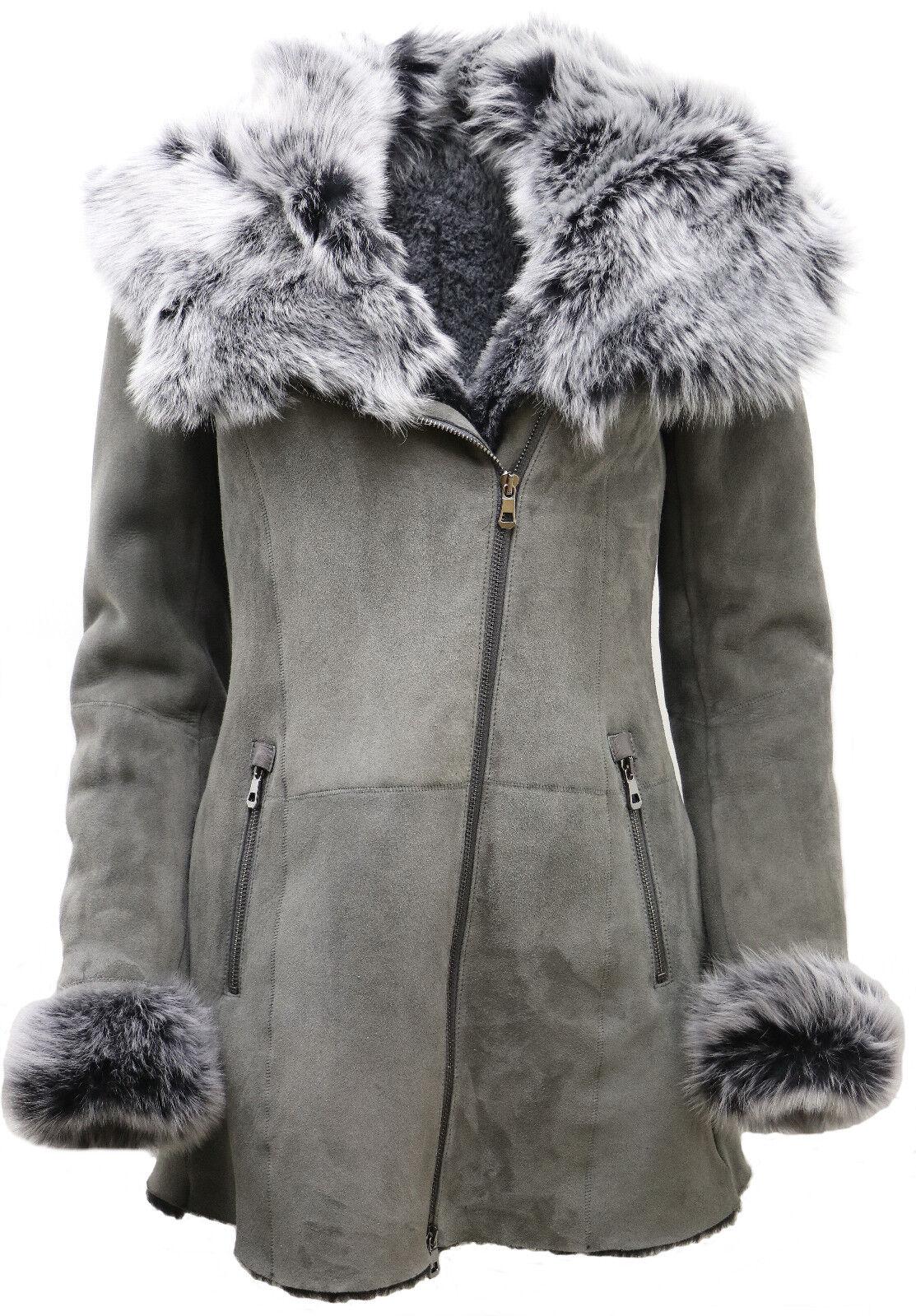 Mina damer Luxurious grå mocka Merino Sheepsky Coat med Toscana Collar