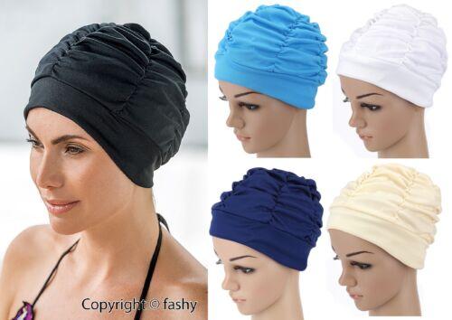 Schwarz Weiß Blau Beige Farbauswahl 3403 Fashy Damen Badehaube Badekappe