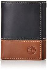 Timberland Hunter Black Brown Genuine Leather Credit Card Trifold Men Wallet