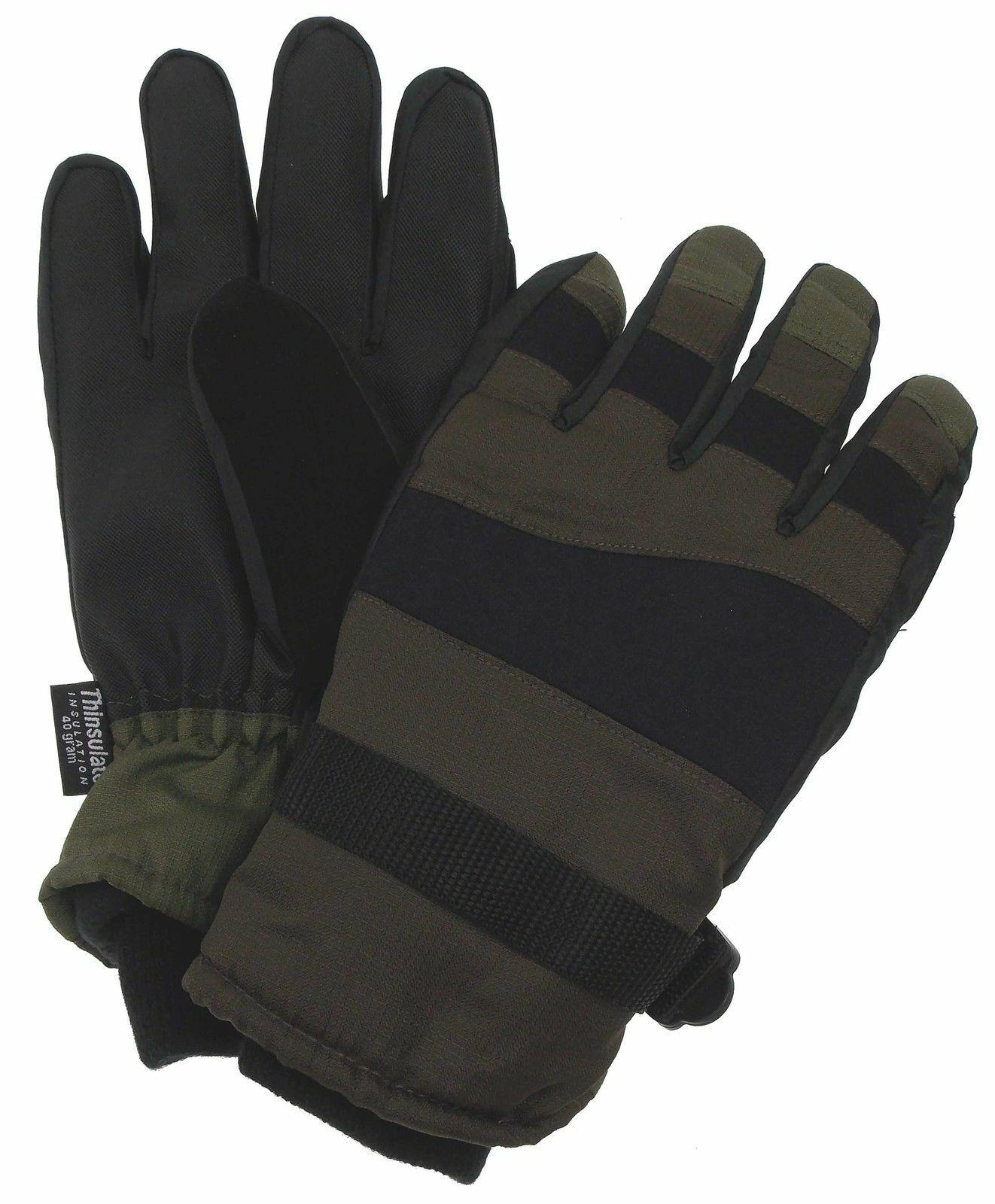 Athletech Mens Brown Black Green Gloves 3M Thinsulate Waterproof M L Ski Winter