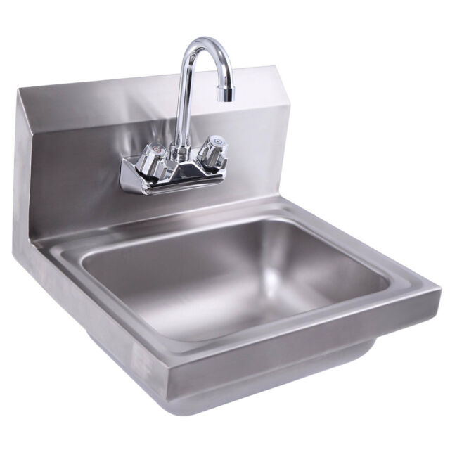 Wall Mount Stainless Steel Hand Sink With Faucet And Strainer 17 X