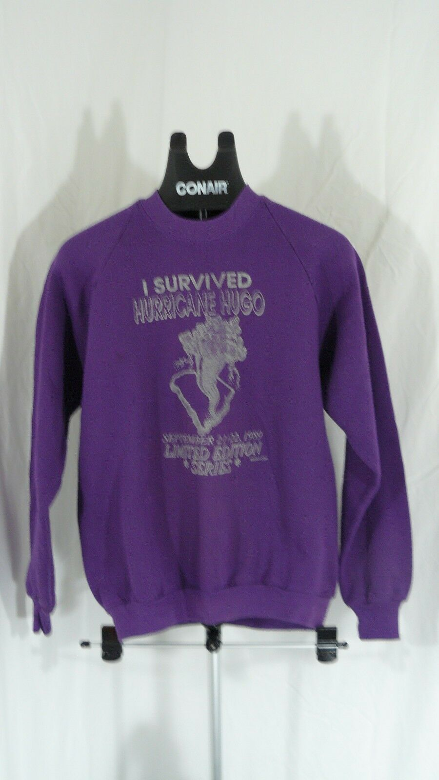 80s vintage 1989 I survive Hurricane Hugo limited edition sweatshirt Jerzees