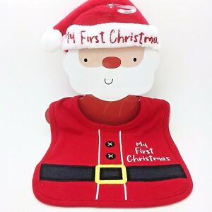 My First Christmas Embroidered Baby Bib   Hat Set Santa Outfit Xmas ... 388cc20a305