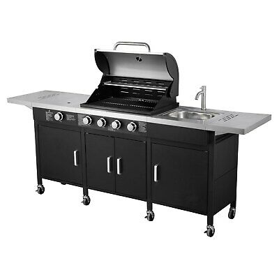 The Texas Outdoor Elite 4 Burner Gas Bbq Kitchen In Black