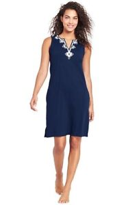 2bb0f87008 Lands End Women  Cottom Jersey Tunic Dress Cover-up Deep Sea ...
