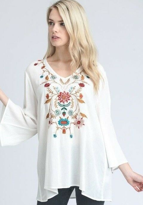 New JODIFL SHIRT blouse TUNIC top Vintage floral EMBROIDERED SM MD LG WHITE sexy