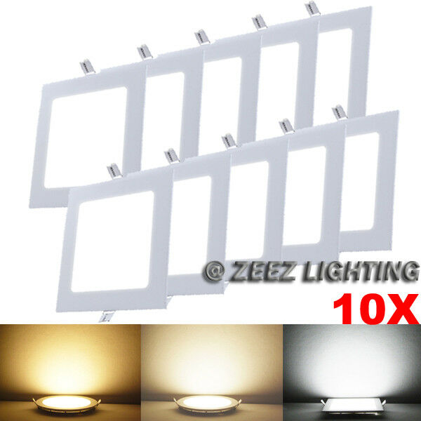 10X Warm White 12W Square LED Recessed Ceiling Panel Down Light Bulb Lamp Fixtur