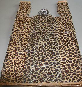25-LEOPARD-Print-Design-Plastic-T-Shirt-Retail-Shopping-Bags-Handles-11-5x6x21-034