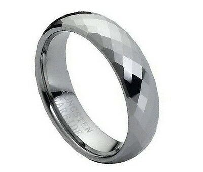 Personalized Tungsten Carbide Faceted Domed Shaped Ring 6mm
