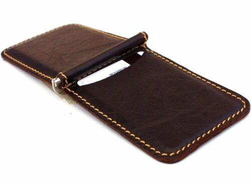 Men/'s natural leather Credit Card Wallet Case 4 slots Slim Pocket Size Handmade