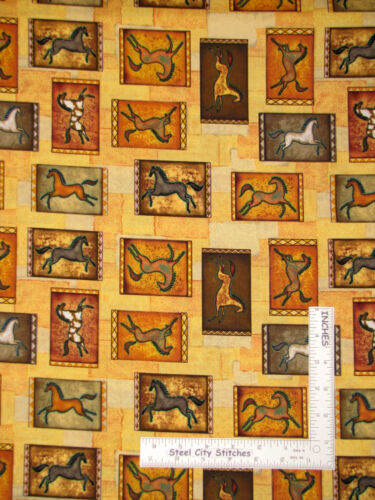 Yard Southwestern Cave Paintings Horse Sundancer Cotton Fabric CP49796 Springs
