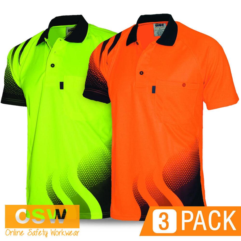 3 X HI VIS WORK COOL DRY BREATHABLE WAVE TRADIES Orange Gelb POLO SHIRT