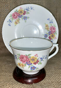 Royal Vale Bone China Cup & Saucer England Pink Roses Blue & Yellow Floral