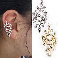 Rhinestone No Piercing Ear Cuff Pin Wrap Jacket, Ear Climber Vine Leaf Earrings