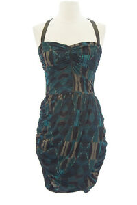 DOLCE-VITA-Women-039-s-Doreen-Teal-Leather-Strap-Ruched-Bodycon-Dress-209-NEW