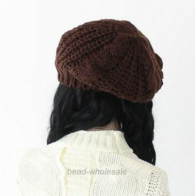 New Women's Beret Braided Baggy Knit Crochet Beanie Hat Ski Cap Winter Warm Cap