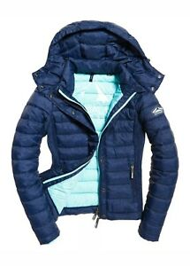 NEW-RRP-84-99-LARGE-SIZE-WOMENS-SUPERDRY-FUJI-SLIM-DOUBLE-ZIP-HOODED-JACKET-NAVY
