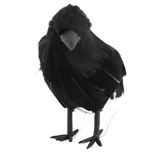 Halloween-realiste-Corneille-Plumes-Faux-Oiseau-Raven-Props-Decorations-Fete-G