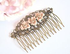 Pink Flower Hair Comb Bronze Tone Wedding Bridal Vintage Style Hair Accessories