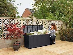 Détails sur 250 L Extra Large Boîte de rangement verrouillable Jardin Salon  Banc Effet Bois Design- afficher le titre d\'origine