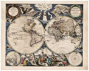 Vintage Old Decorative World Map Goos 1667 Paper Or Canvas Ebay