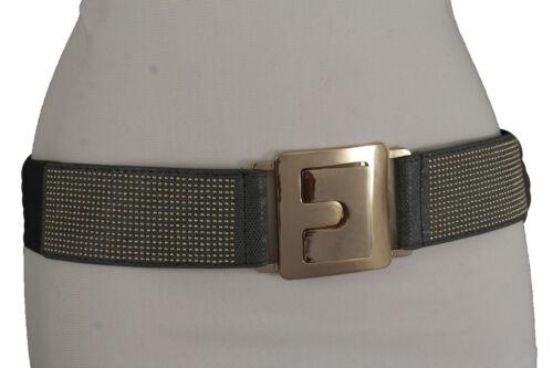 Women Trendy Gold Metal Buckle Studs Dots Belt Hip High Waist Grey Elastic S M