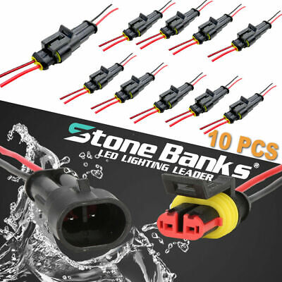 10pc 2 Pin Car Waterproof Electrical Connector Plug With Wire AWG Marine Black