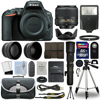 Nikon D5500 DSLR Camera + 4 Lens 18-55mm VR II + 500mm + 16GB Telephoto Kit