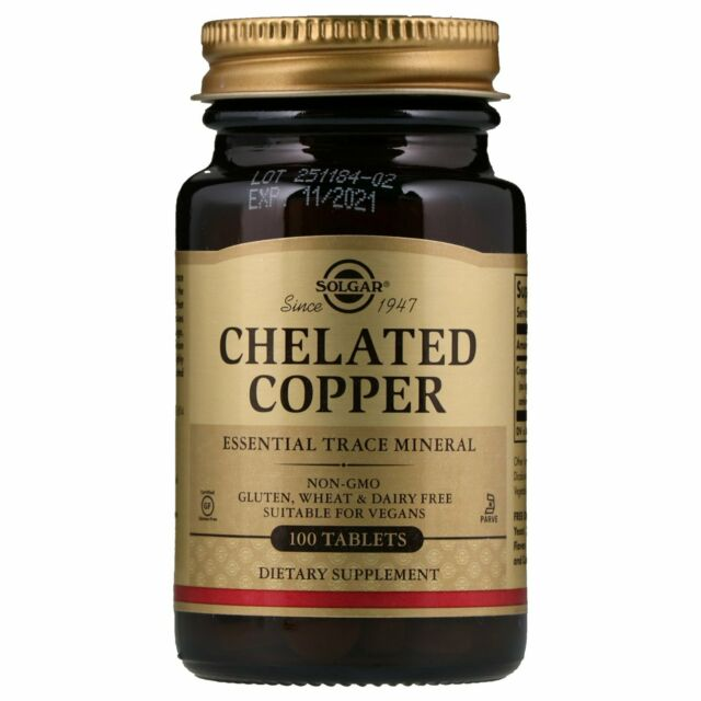 Solgar, Chelated Copper, 100 Tablets