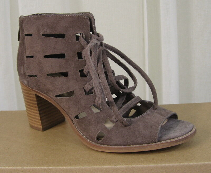 NEW Vince Camuto Tressa Perforated LaceUp Stone Taupe Suede Bootie US Sandal US Bootie 7.5 312e41